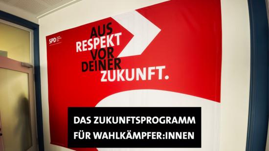 Rückwand mit Motto zur Bundestagswahl im Kurt-Schumacher-Haus